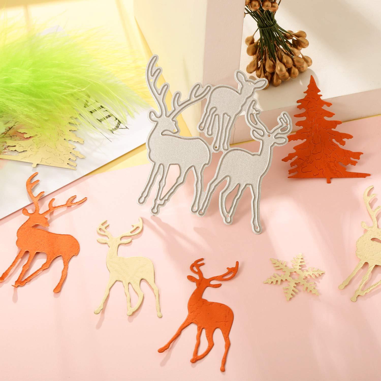 Pangda 8 Pieces Christmas Metallic Cutting Dies Embossing Dies Stencil Include Snowflake Christmas Tree and Reindeer Metal Mould for DIY Crafts