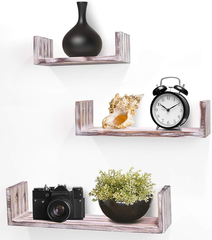 Greenco Set of 3 Rustic U Shelves, Decor Display. Floating Shelf