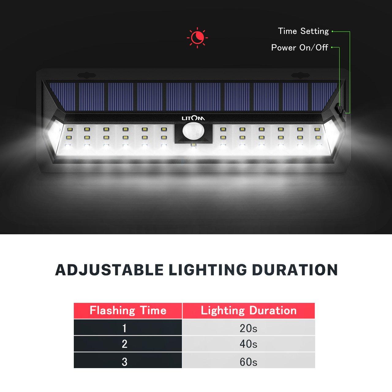 LITOM Solar Lights Outdoor 42 LED, Adjustable Lighting Time Solar Motion Sensor Light with 270° Wide Angle and Waterproof Design, Wireless Solar Lighting for Front Door, Yard, Garage, Deck (2 Pack) by Litom (Image #6)