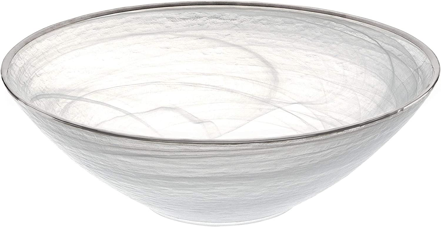 Elegant White Alabaster Glass Round Bowl Decorated with Silver Trim 10 Inches D