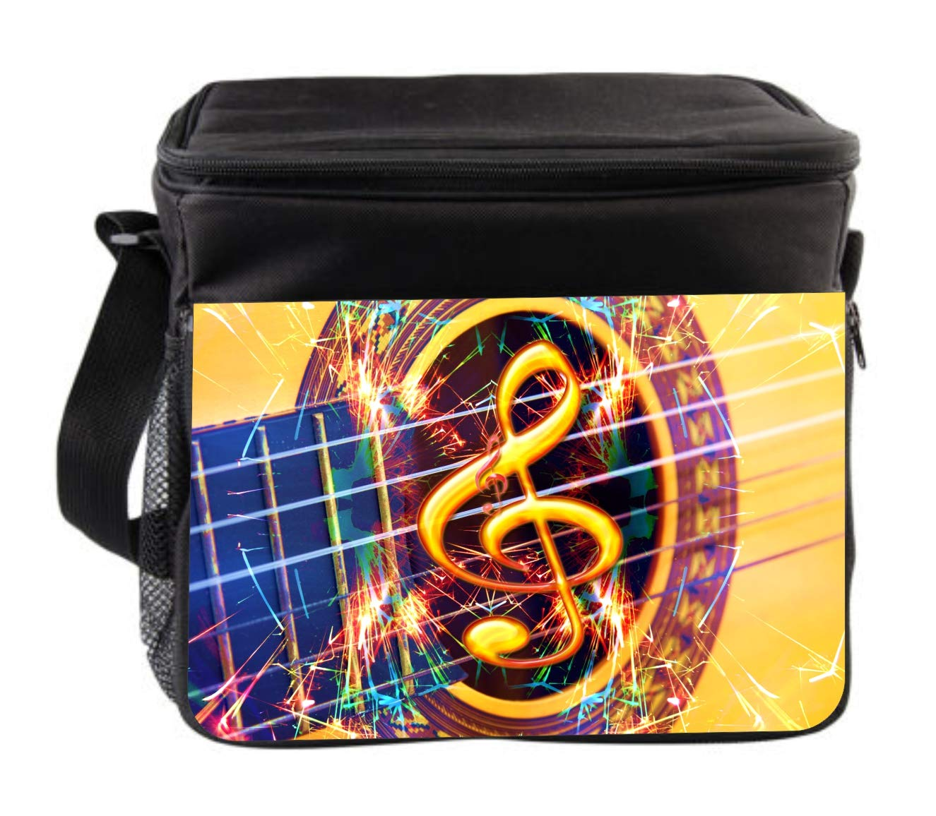 Rosie Parker Inc. Music Clef Guitar Design Cross Body Thermal Cooler Bag for Travel by Rosie Parker Inc.