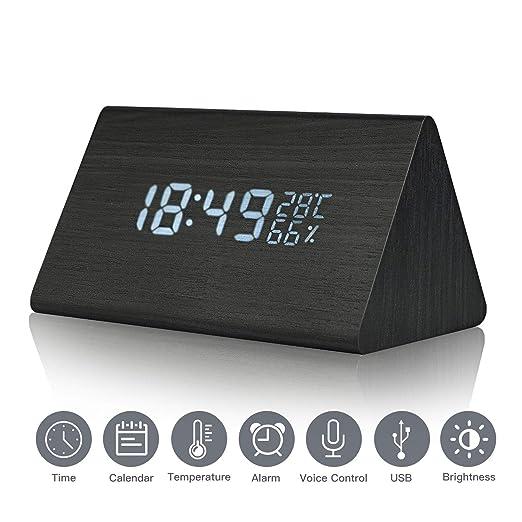 Reloj despertador Reloj digital de madera Triángulo LED Reloj de escritorio de alarma de madera con fecha y temperatura Control táctil por voz para ...