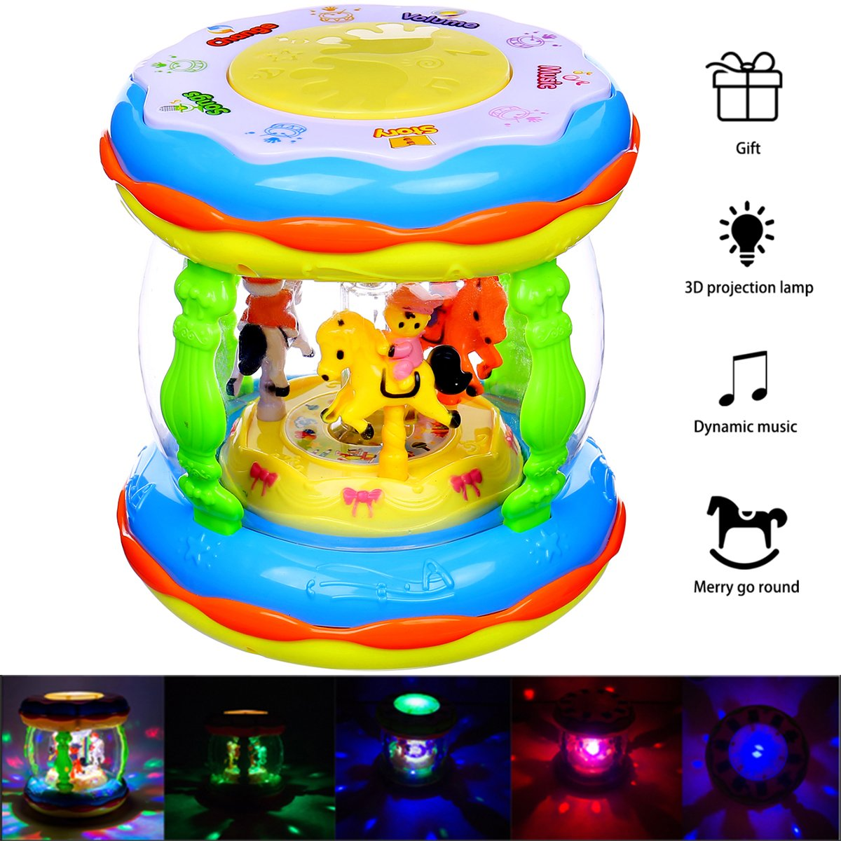 Baby Toys & HXSNEW Musical Toys , Toddler toys & Childrens Favorite Colorful Projection Lights & Musical Learning Entertainment Kids Drum Set ,toys for 1-3 year old (Medium Size)