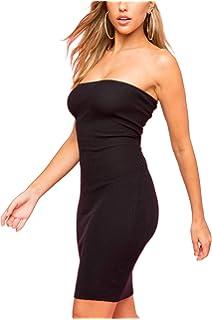 9e38e4994c0 just quella Women s Strapless Stretchy Mini Dress Basic Sleeveless Tube Top Dress  Sexy Bodycon Club Dress