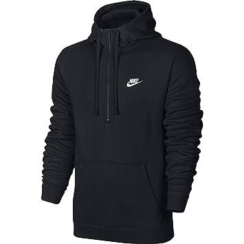 945a15f57 NIKE Mens Sportswear Half Zip Club Fleece Hooded Sweatshirt Black/White  812519-010 Size