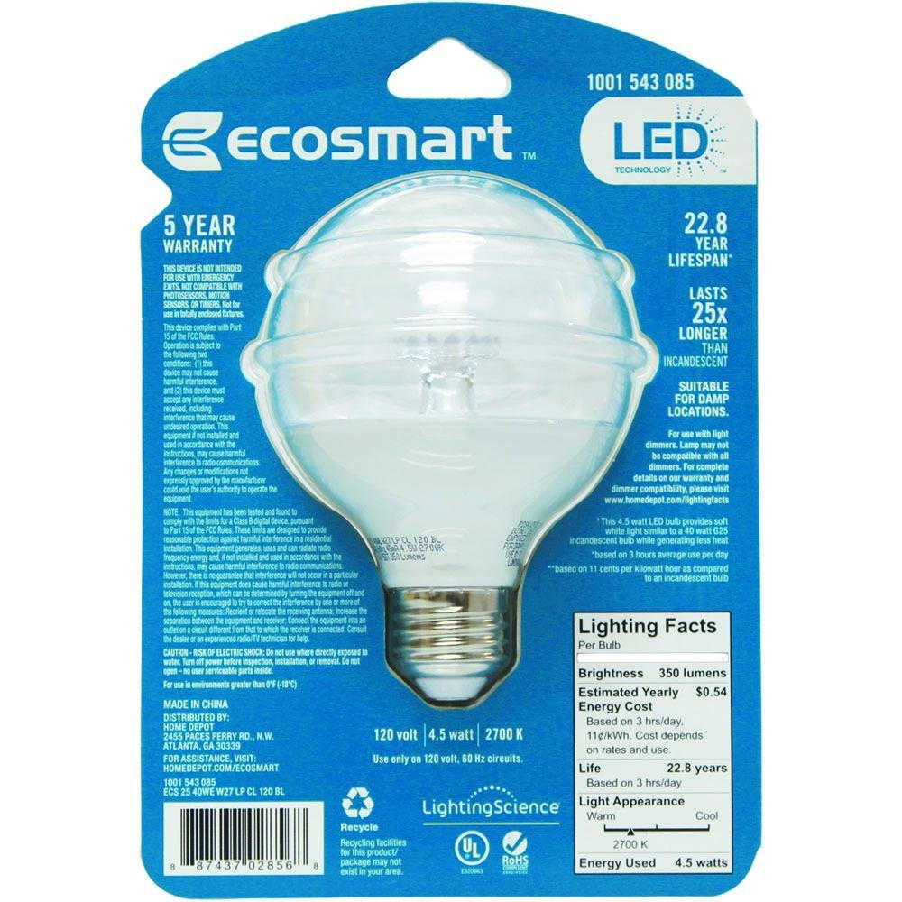 120 volt led night light circuit - Ecosmart 40w Equivalent Soft White G25 Clear Led Light Bulb Amazon Com