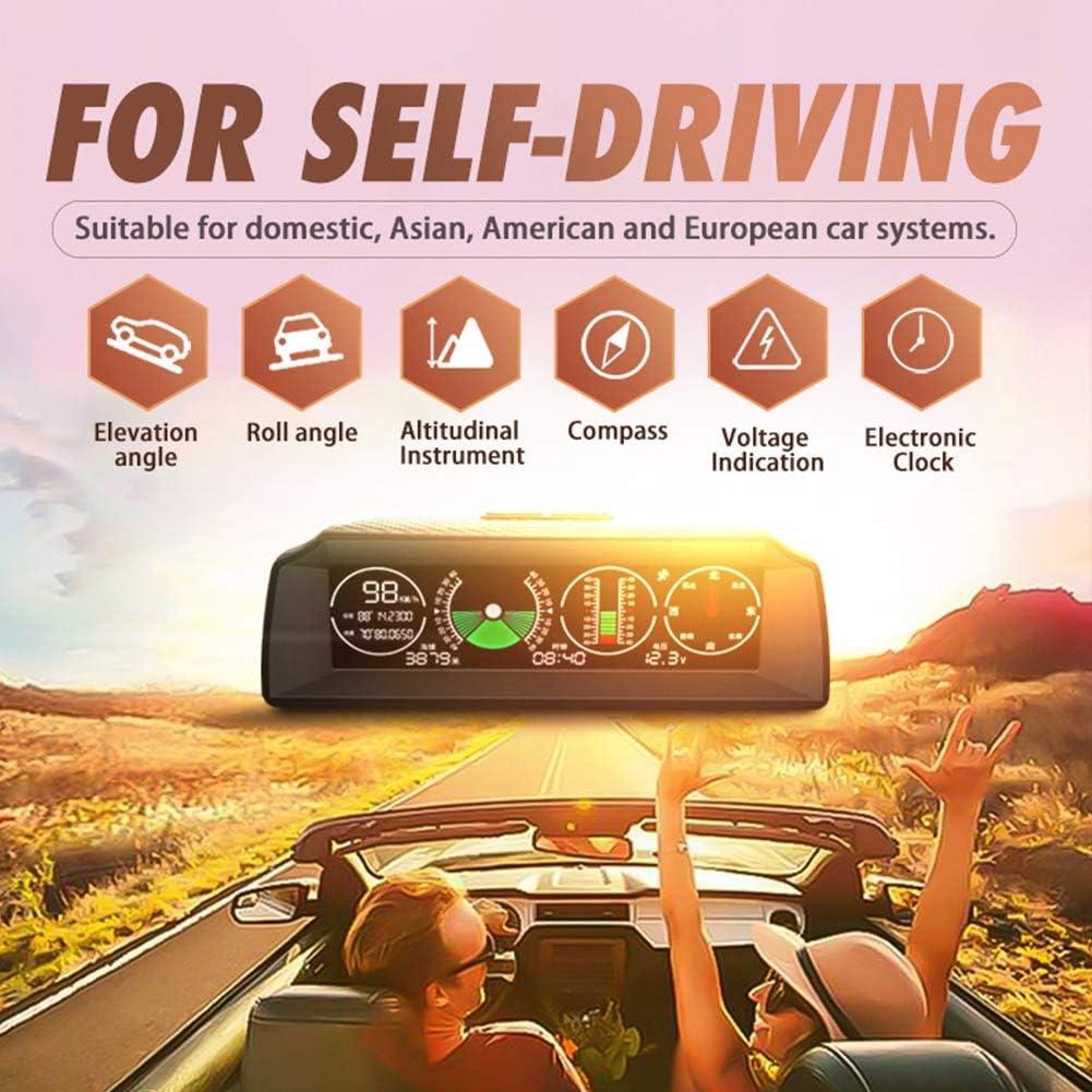 GPS-Navigation f/ür das Auto HD LCD-Display Multifuntion Tachometer Geschwindigkeit Kilometerz/ähler Zeitmesser Warnsystem Kohlefaser-Design