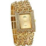 JewelryWe - Reloj de pulsera para mujer, de cuarzo, esfera cuadrada simple de lujo, con diamantes de imitación, caja dorada,