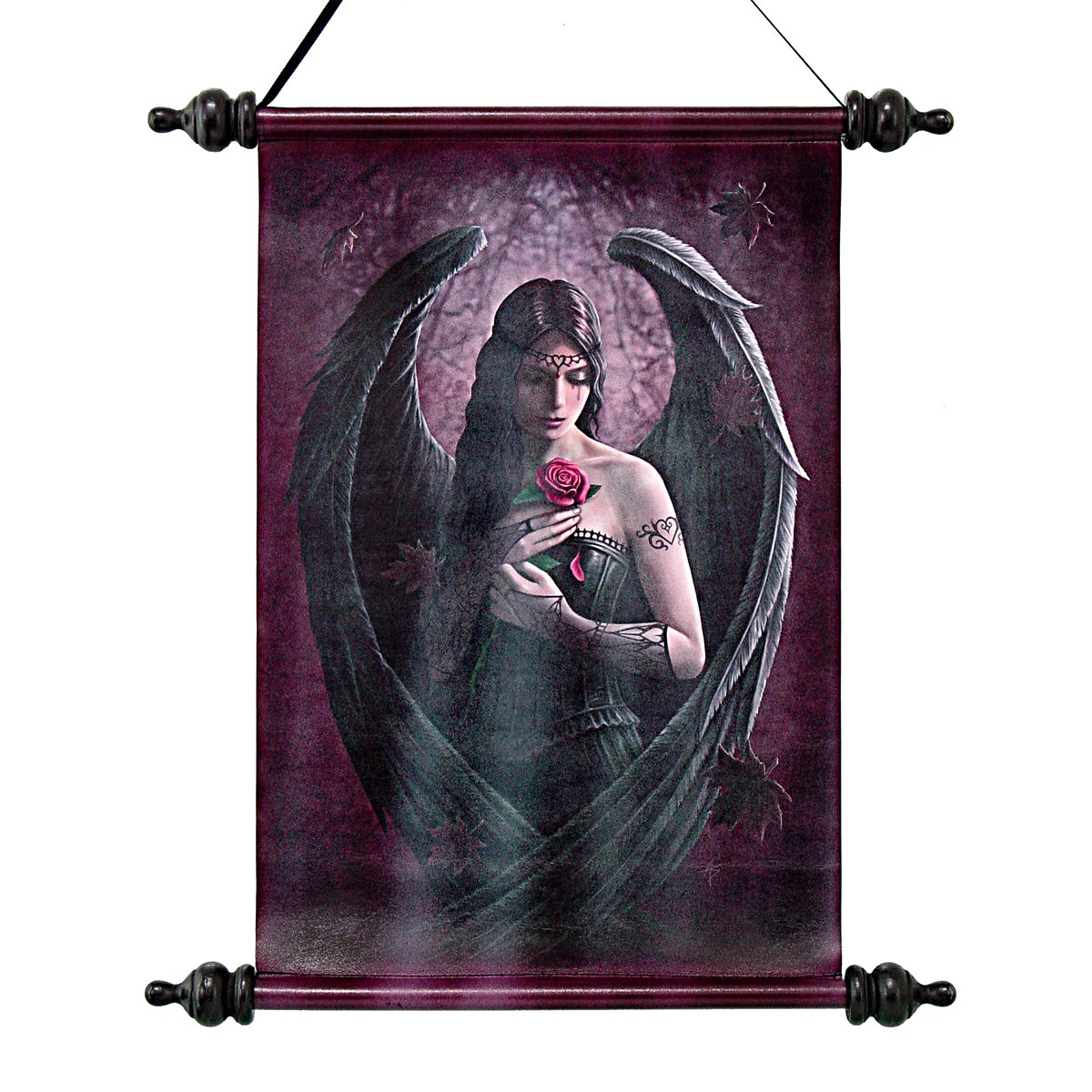 Design CL751314 Toscano Angel Rose Canvas Wall Scroll by artist Anne Stokes
