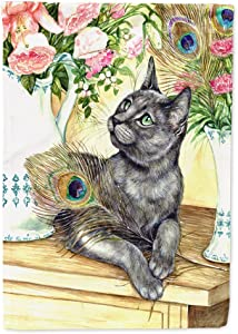 Caroline's Treasures CDCO0035GF Cat and Peacock Feathers Flag Garden Size, Small, Multicolor