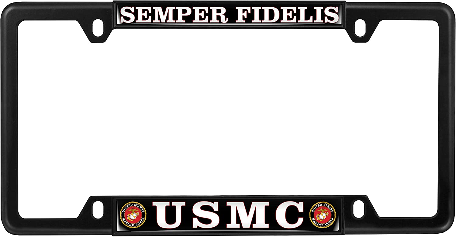 Black USMC Semper Fidelis Top 4 Hole Metal Car License Plate Frame with Free caps Black /& White Text - Domed Custom-Made Personalized Narrow Thin