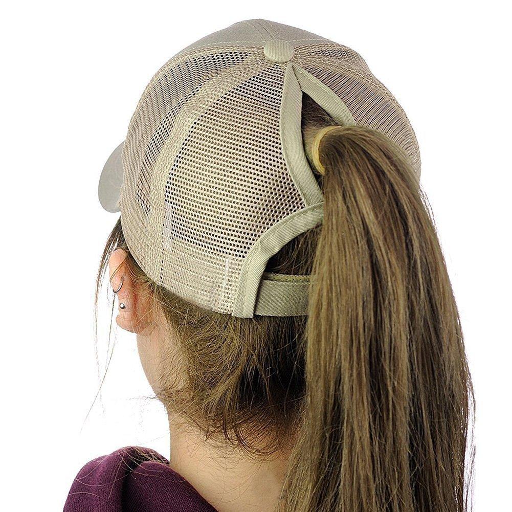 Yusongirl Womens Baseball Cap Messy High Bun Ponytail Mesh Baseball Hat Adjustable