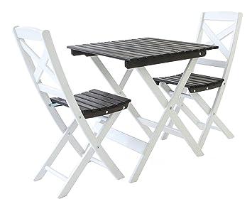 Ambientehome Ensemble de mobilier de Jardin ou de Balcon 1 Table & 2  chaises Pliantes Lotta-Bois: pin Massif, Blanc/Gris Taupe, 65x65x70 cm