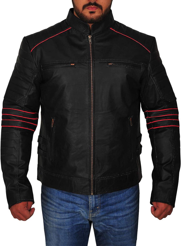 TrendHoop Hunter Black Mens Cafe Racer Motorcycle Genuine Leather Jacket