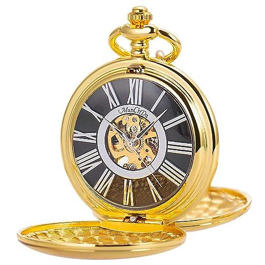ManChDa Reloj de Bolsillo mecánico para Hombre, Collar analógico Vintage, con Caja de Regalo
