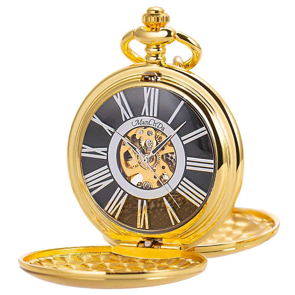 ManChDa Classic Mechanical Smooth Double Gold Case Roman Numberals Pocket Watch Fob Gift for Men Women