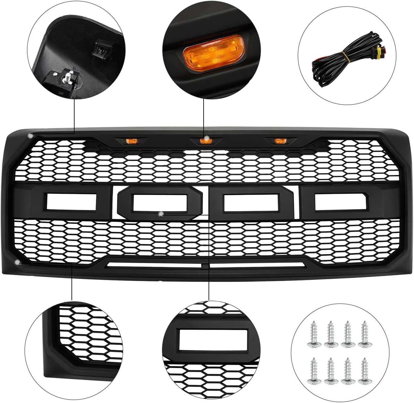 SEVENS Front Raptor Style Grill for 2009-2014 Ford F150 Front Grille with Amber Lights and Letters Matte Black