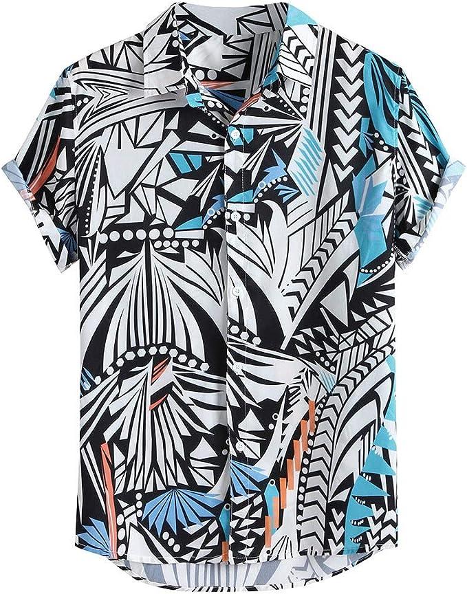 SOOTOP Men Shirt Blouse Cotton Linen Long Sleeve Loose Beach Tops Button Down Party Holiday Camp Casual