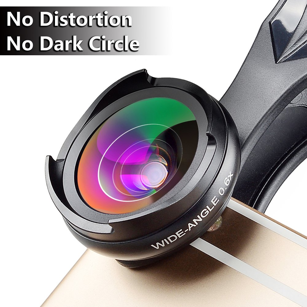 MIAO LAB Camera Lens Kit (No Distortion No Dark Circle) 0.6X Super Wide Angle Lens & Macro Lens Clip on 2 in 1 Cell Phone Lens for iPhone Samsung Sony and other Smart Phones