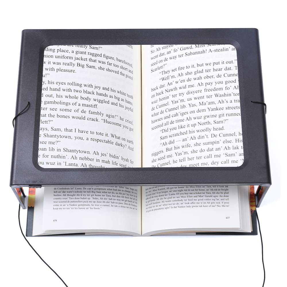 Hands-Free Magnifying Glass Large Full-Page Rectangular 3X Magnifier LED Lighted Illuminated Foldable Desktop Portable for Elder Kids