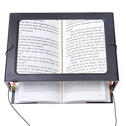 07b19ab09fec Hands-Free Magnifying Glass Large Full-Page Rectangular 3X Magnifier LED  Lighted Illuminated Foldable Desktop Portable for Elder Kids
