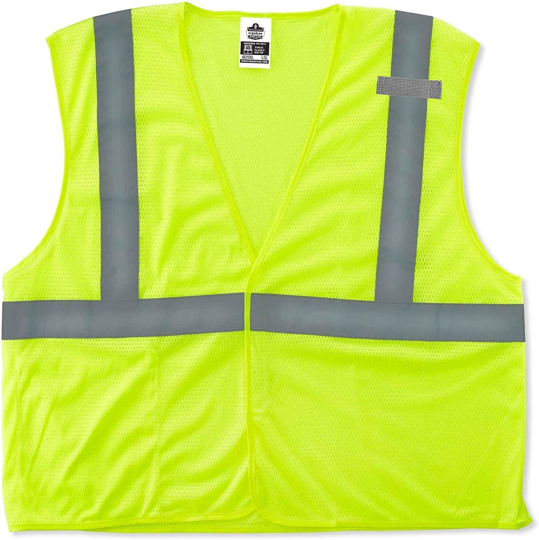 Ergodyne GloWear 8210HL ANSI Economy High Visibility Lime Reflective Safety Vest, Hook & Loop Closure, Large/X-Large