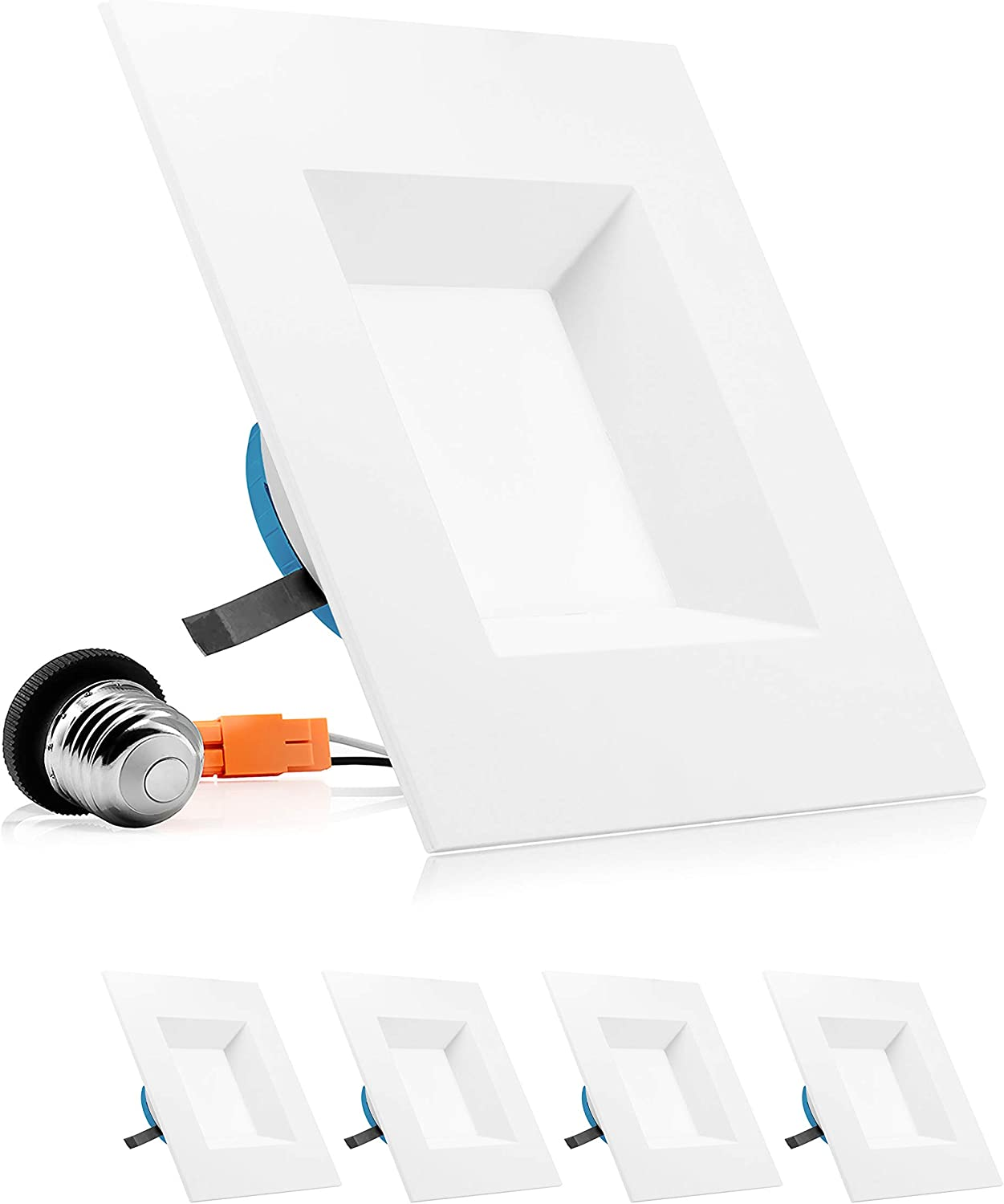 PARMIDA 6 inch Dimmable LED Square Recessed Retrofit Lighting, Easy Downlight Installation, 12W (100W Eqv), 950lm, Ceiling Can Lights, Energy Star & ETL-Listed, 5 Year Warranty, 4000K - 4 Pack