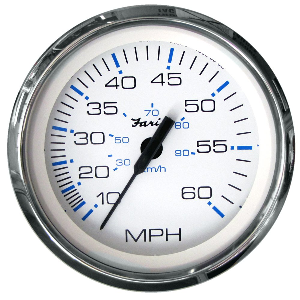 The Excellent Quality Faria Chesapeake White SS 4'' Speedometer - 60MPH (Mechanical) by Faria Beede Instruments