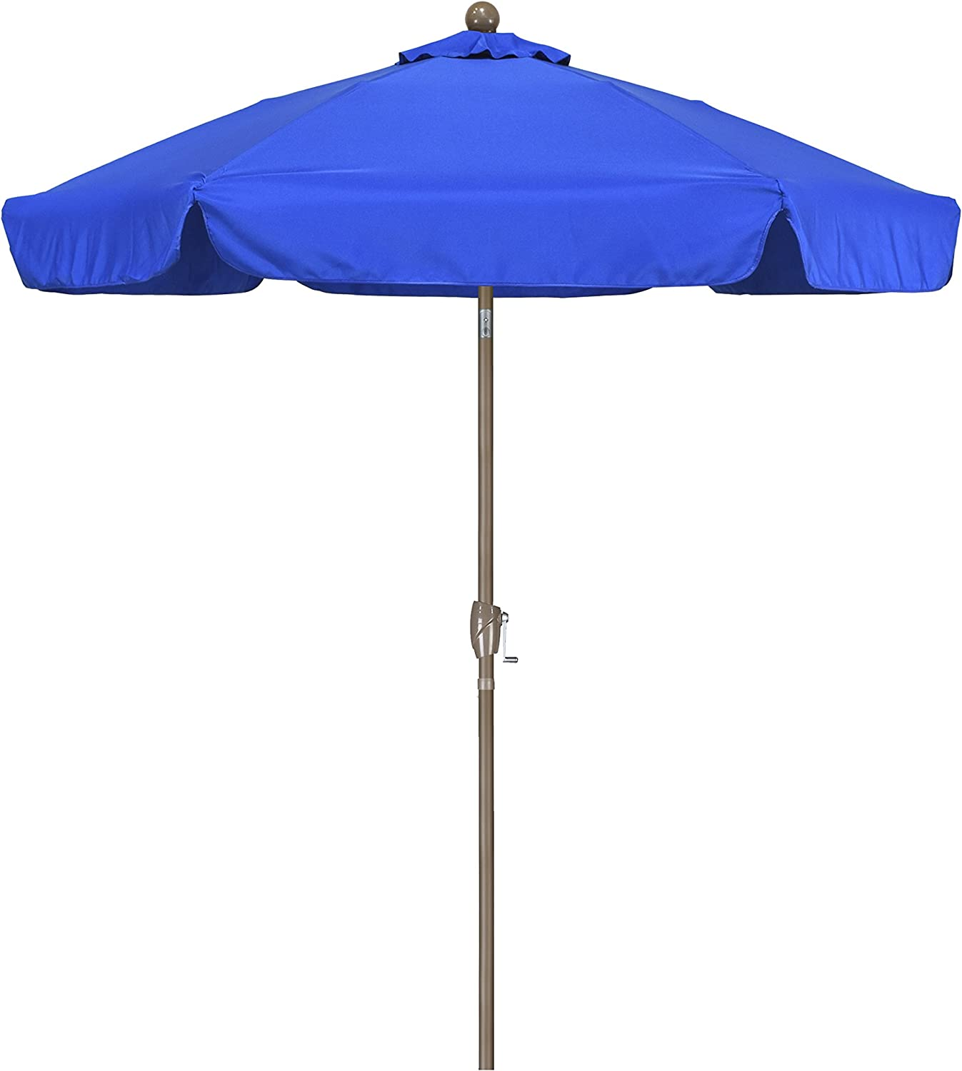 California Umbrella 7.5 Round Aluminum Pole Fiberglass Rib Umbrella, Crank Open, Push Button 3-Way Tilt, Champagne Pole, Pacific Blue