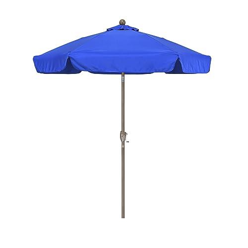 California Umbrella 7.5u0027 Round Aluminum Pole Fiberglass Rib Umbrella, Crank  Open, Push Button