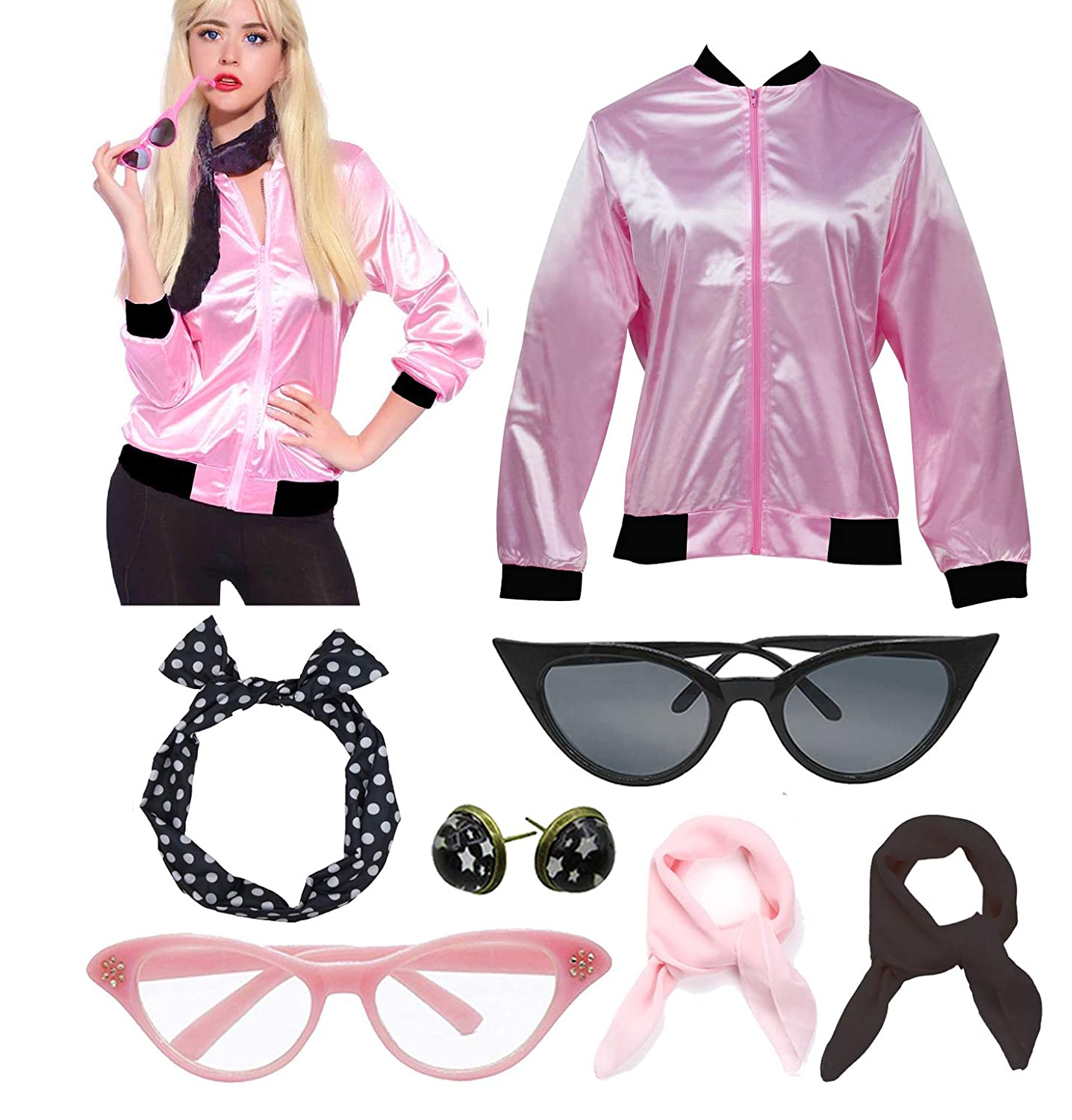 50'S Costume Party Lady Jacket with Scarf 716h4gU0q8L