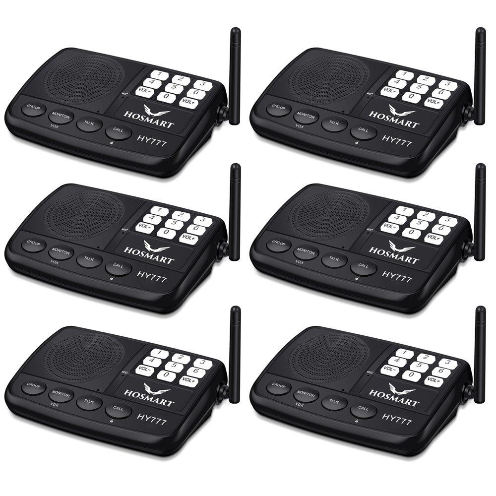 Système d'intercom sans fil Hosmart 1/2 Mile LONG RANGE Système d'intercom sans fil à 7 canaux pour la maison ou le bureau(3 stations en argent)