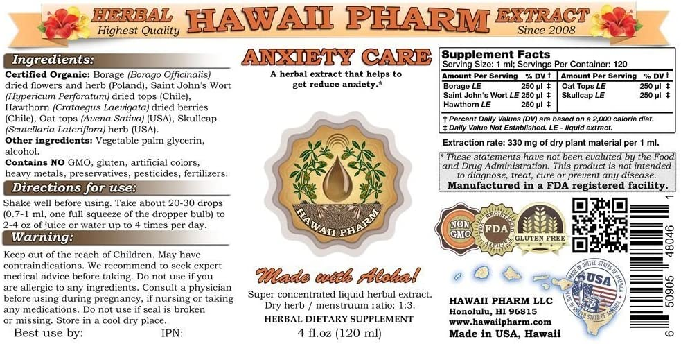 Anxiety Care Liquid Extract, Anxiety Relief Supplement 15×4 oz