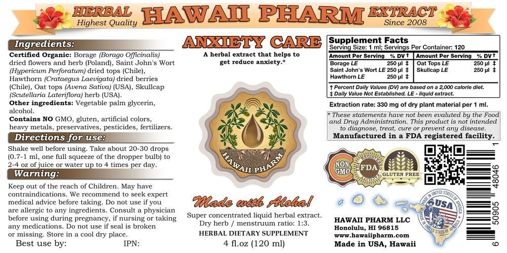 Anxiety Care Liquid Extract, Anxiety Relief Supplement 32 oz Unfiltered