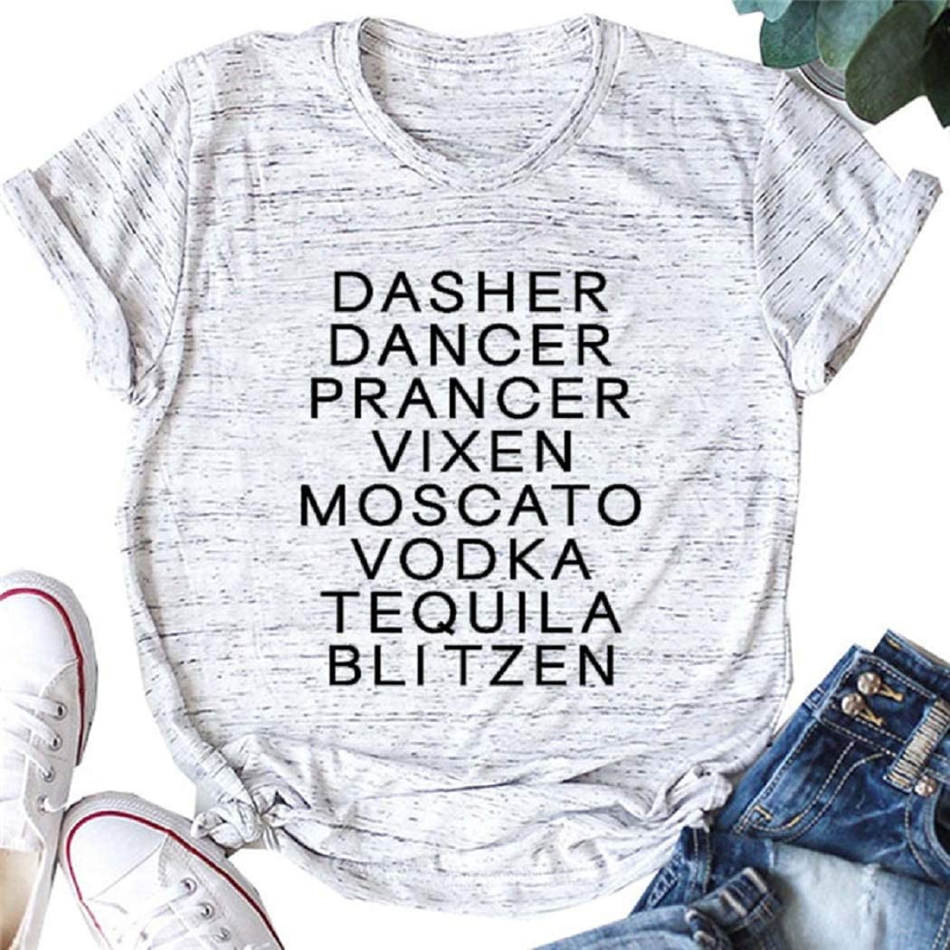 T-Shirts Graphic for Women Cotton Letters Print Shirt with Funny Sayings Casual Tee Tops