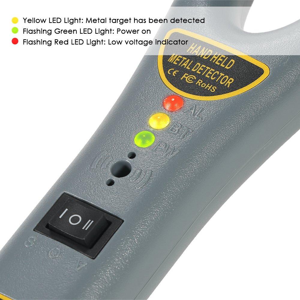 Detector De Metales De Mano, Localizador De Metal Portátil para Inspección De Seguridad con Luz LED y Alarma De Vibración, Alta Sensibilidad: Amazon.es: ...