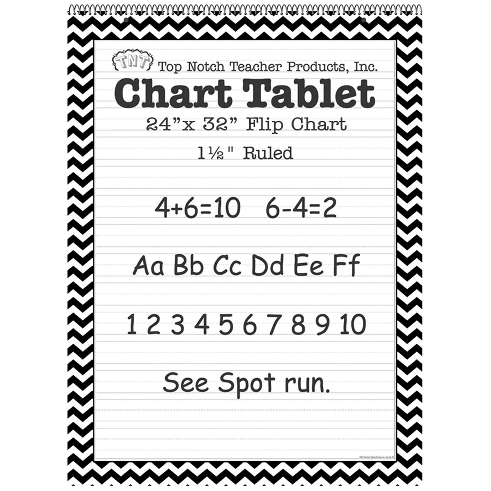 Top Notch Teacher Products TOP3855BN Chart Tablet, 24'' x 32'', 1-1/2'' Ruled, Black Chevron, 25 Sheets, Pack of 2 by Top Notch Teacher Products