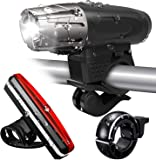 Tobeape Bicycle Light Set, 300 Lumen Ultra Bright USB Rechargeable Bike Lights with Bike Taillight & Bike Bell, 4 Light…