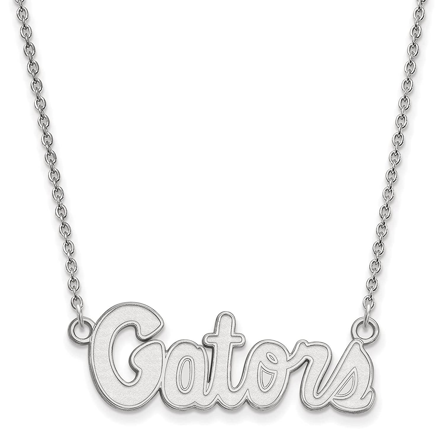 925 Sterling Silver Rhodium-plated Laser-cut University of Florida Small Pendant w//Necklace 18