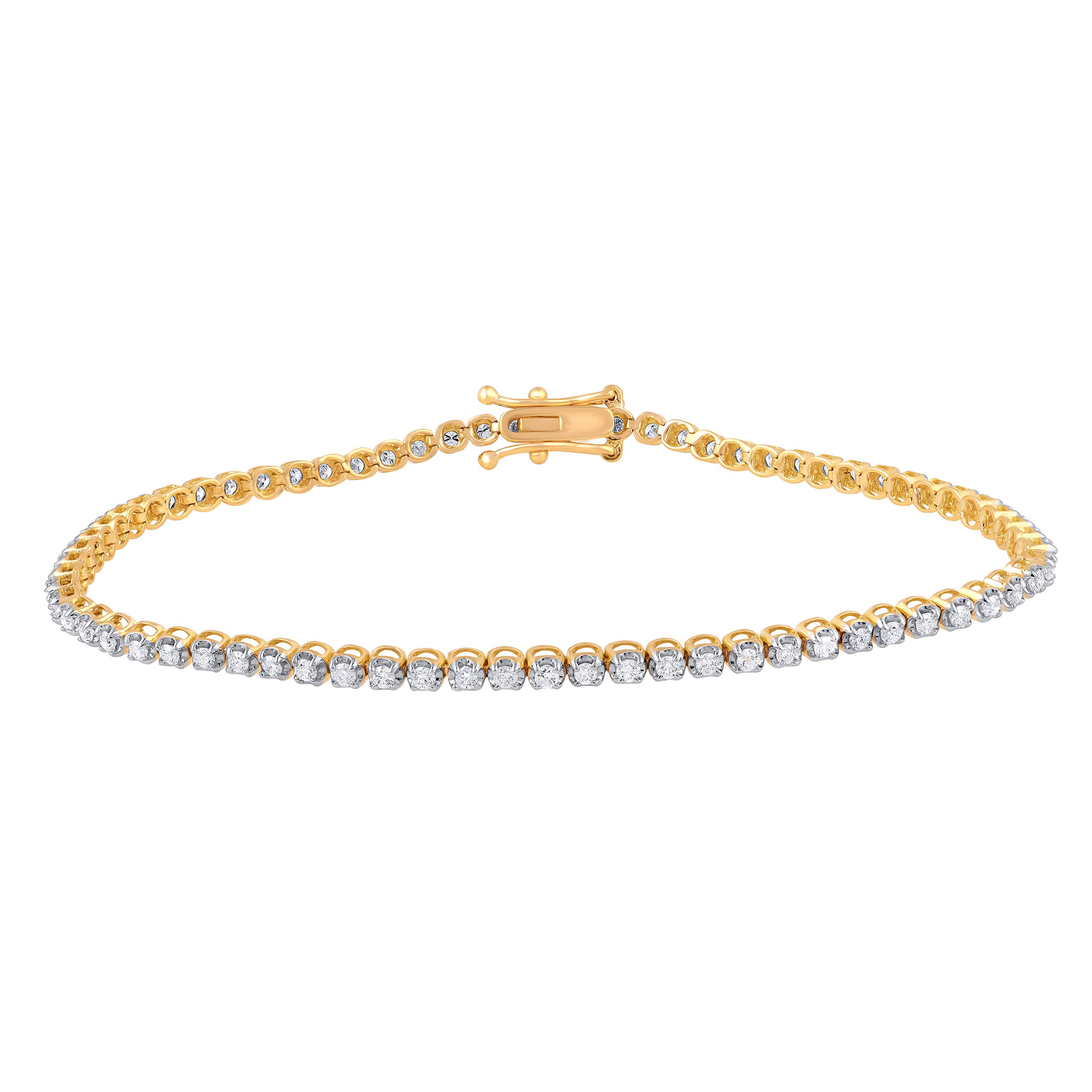 1.00 Carat Natural Diamond Bracelet 18K Yellow Gold (G-H Color, I3 Clarity) Stylish Diamond Tennis Bracelet for Women Diamond Jewelry Gifts for Women