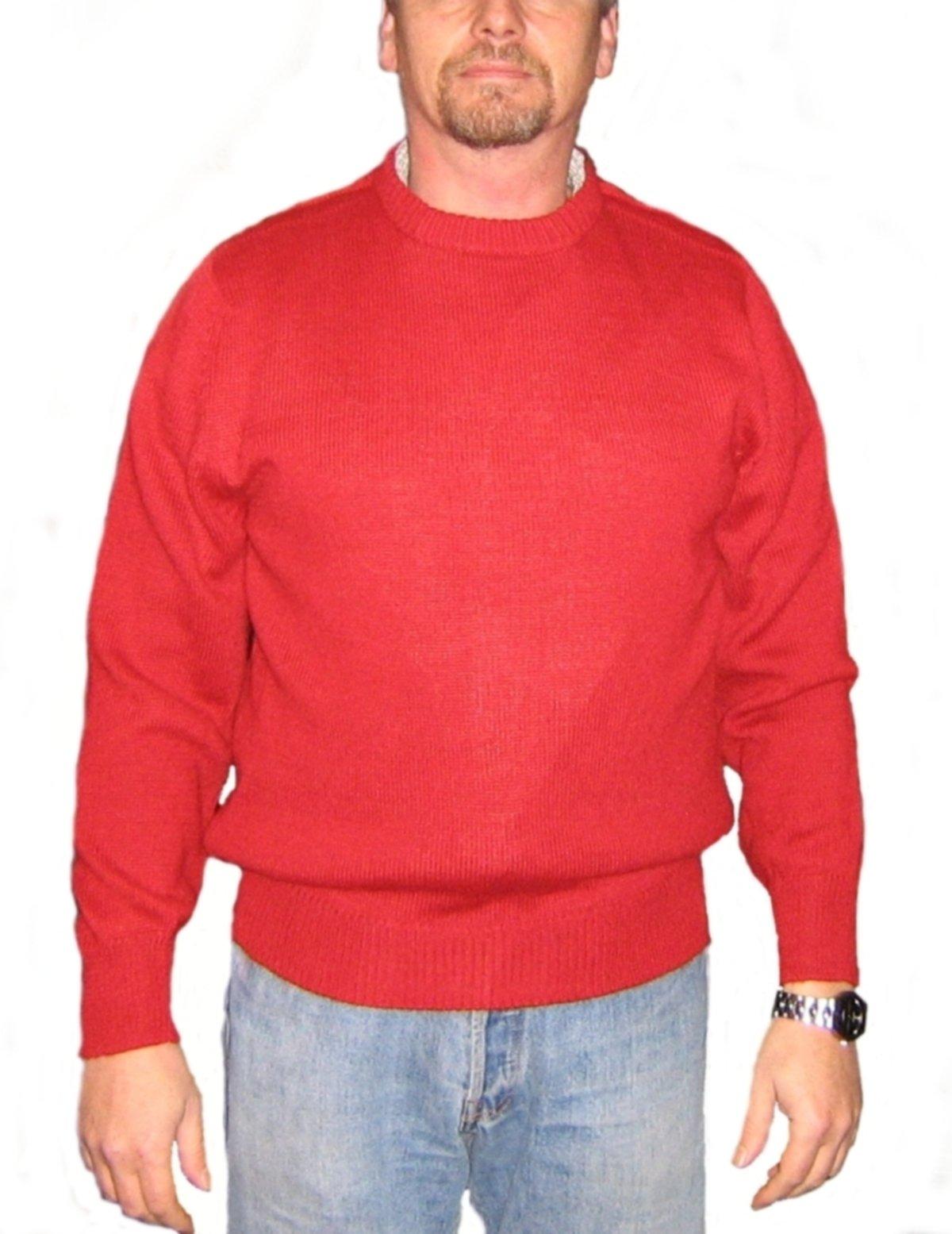 Alpakaandmore Mens 100% Babyalpaca Wool Pullover Red Roundneck (X-Large)