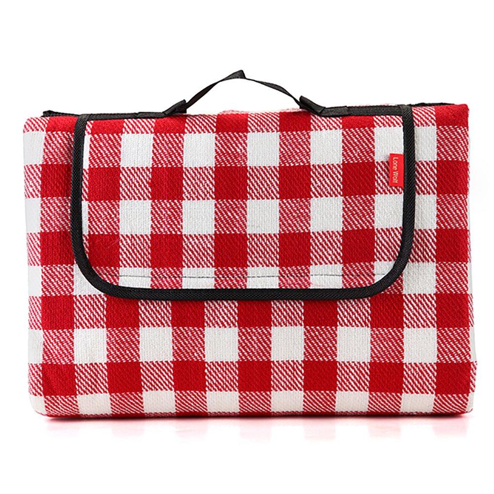 D&L Roten Weiß Lattice Outdoor Picknickdecke,Wasserdicht Sanddichte Picknick-matte Folding Wärmegedämmt Mit Tragegriff Für 2-4 Personen Reisen, Wandern, Camping B07CVGG7CV Picknickdecken Schnäppchen