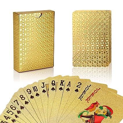 joyoldelf 24K Hoja de Oro Poker Naipes Cubierta Carta de Baralho con Idea Box Buen Regalo (Dorado)
