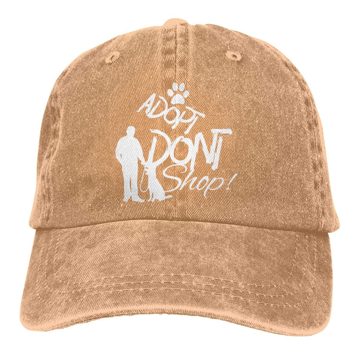 Men Women Distressed Denim Fabric Baseball Cap Dog Rescue Adopt Dont Shop Headwear
