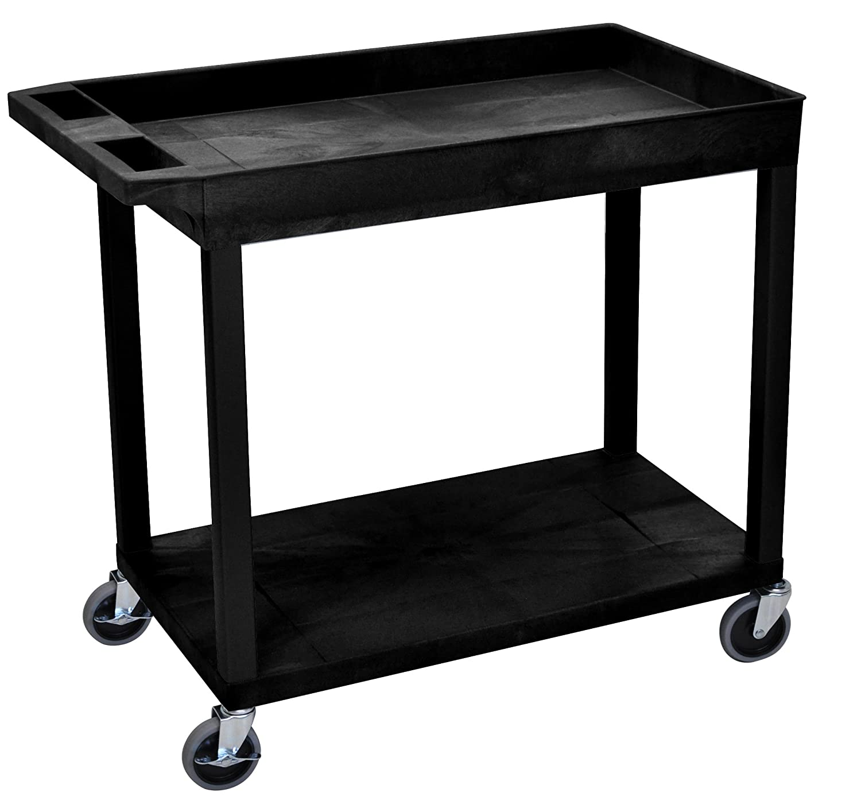 LUXOR EC12-B Cart 18 x 32 1 Tub//1 Flat Shelf Black