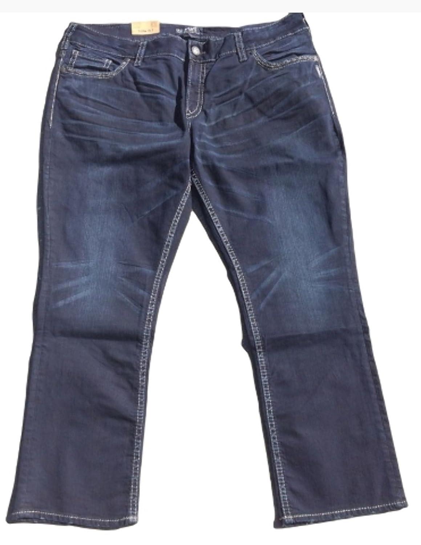 Silver Jeans Women's Suki Plus Mid Straight Dark Blue Jeans 24 X 30
