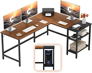 CubiCubi L-Shaped Office Desk, Modern Computer Corner Desk Writing Study Table with Storage Shelves, Space-Saving, Espresso