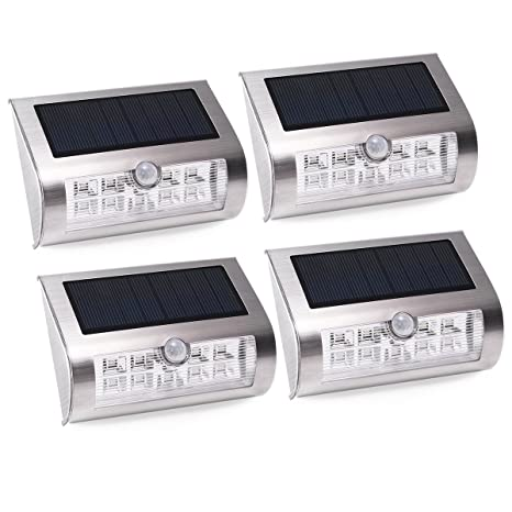 4-Pack Foco Solar LED con Sensor de Movimiento, AVAWAY Lámpara Solar Lámpara de