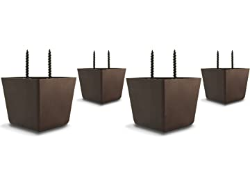 Superbe Choice Parts   2 Inch Tall Triangle Walnut Brown Plastic Sofa Legs (Pack Of  4
