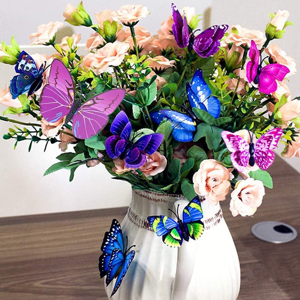 rose-violet autocollant pastel Sticker d/écoratif f/ée papillon muraux Stickers autocollants pour la d/écoration dappartements Sticker mural d/éco de 48 morceaux de papillons 3D avec aimant